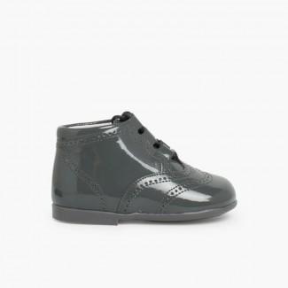 Chaussures Anglaises effet Verni Gris