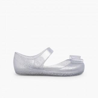 Babies en Caoutchouc avec Velcro – Modèle Mia Lazo Glitter Argent
