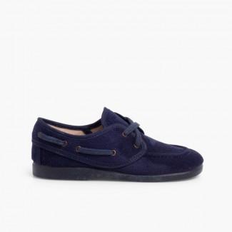 Chaussures bateau Serratex à lacets Bleu marine