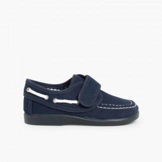 Chaussures Bateau en Toile et Fermeture Velcro Bleu marine