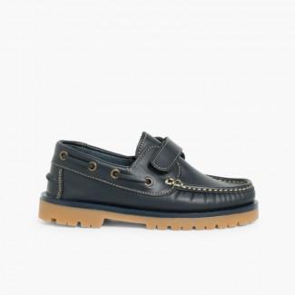 Chaussures bateau pour Garçon avec Scratch Bleu marine