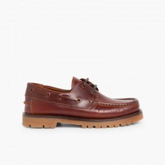 Chaussures Bateaux Garçon à Lacet Marron