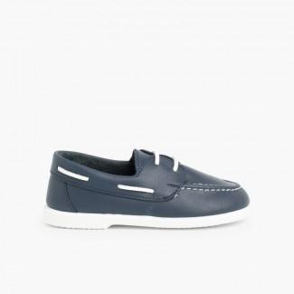 5485afaa766 Chaussures bateau en Cuir Bleu marine