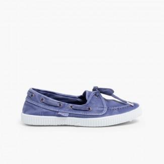 Chaussures Bateau en Toile avec Semelle Blanche  Ciel clair