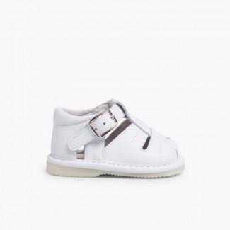 Sandales Bébé Garçon en Cuir Blanc