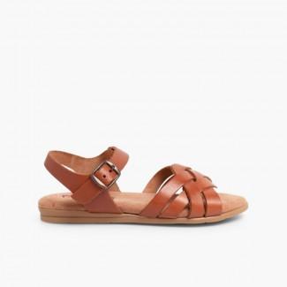 Sandales avec Semelle en Gel Couleur Cuir