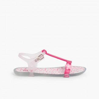 Sandales de caoutchouc Tricia fleurs Fucsia