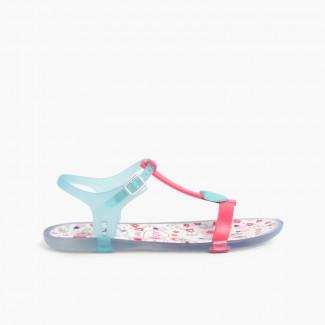 Sandales de caoutchouc Tricia Love Fucsia et Aigue-marine