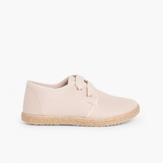 266f81c0b2c Chaussures Derbies Façon Espadrille Avec Effet Satiné Beige