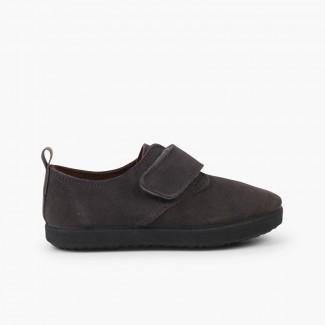 Chaussures Blucher casual en suède et velcro Gris