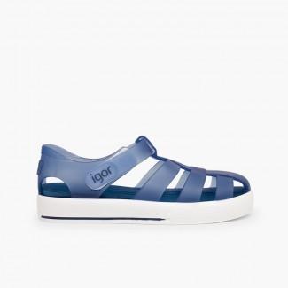 Sandales de plage avec du velcro de type tennis Bleu marine