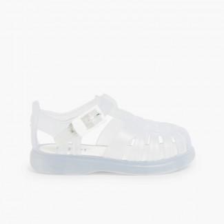 087fb037e76 Sandales Plastique enfants de couleur unie Blanc