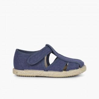 Chaussures salomé sandales ouvertures toile et jute Bleu marine