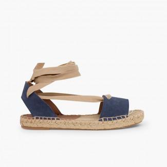 Sandales en sparte de suède avec rubans Bleu