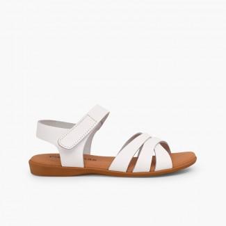 Sandale fille cuir bandes croisées fermeture velcro Blanc