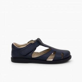 Sandales garçon cuir velcro type chaussures salomé Bleu marine