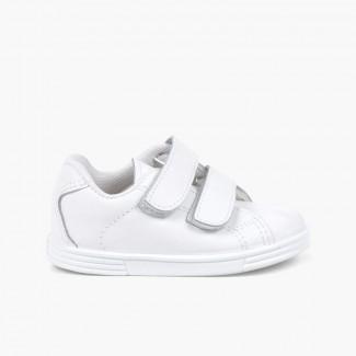 Chaussures de sport pour bébé et enfant cuir Lavable Blanc