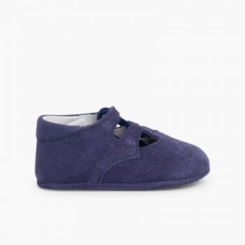 b2ec00b9fa8 Chaussures Anglaises en Suède Badanita Inglesito Bebe Serraje Azulón ...