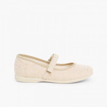 fd6d4637e7238 Chaussures babies en Lin avec Velcro fin pour filles. Merceditas Niña De  Lino Velcro Fino Arena ...