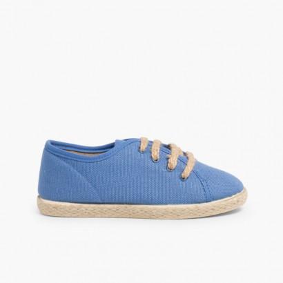 Espadrilles à Lacets Style Basket Bleu