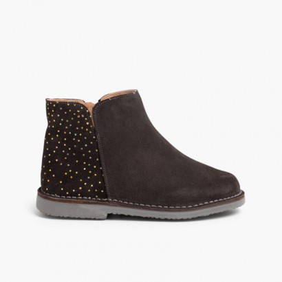 Bottines plates avec Ornements brillants Gris