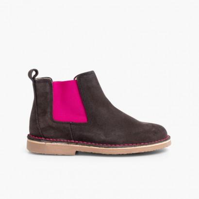 fd63a23af90ca Chelsea Boots Fille Femme avec Elastique Coloré Gris et Rose