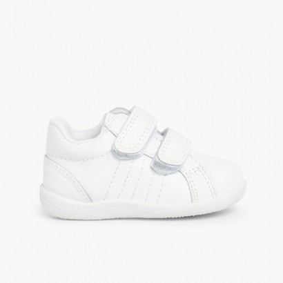 Baskets en cuir petites tailles pour Bébé et Enfant Blanc