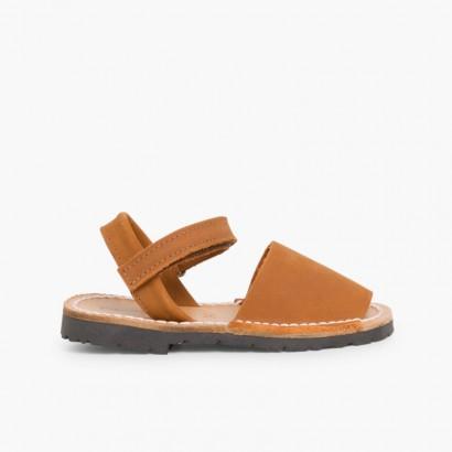 Sandales Avarcas Nubuck avec Velcro pour Enfant Marron