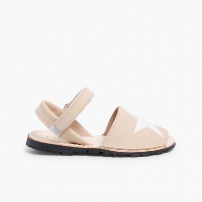 Sandales Avarcas Enfants Nubuck avec Étoile et Velcro Beige
