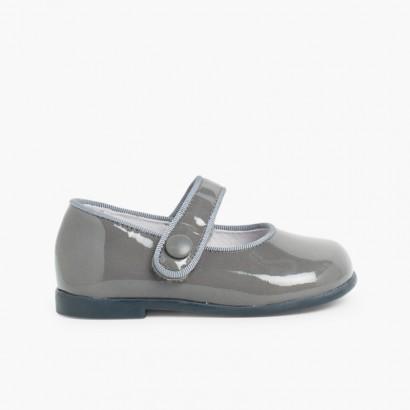 Chaussures à boucle Fille Cuir Verni Velcro Gris