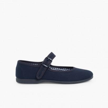 622bf7a32890c Chaussures en toile à boucle pour Fille (Grandes Tailles) Bleu marine