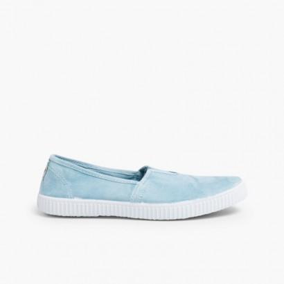 Tennis Slip on avec Élastique Bleu clair