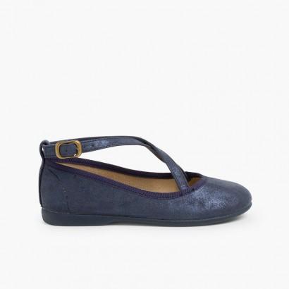 Chaussures babies fille boucle brides croisées          Bleu marine