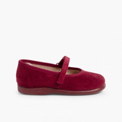 Chaussures à boucle et Velcro Bamara  Bordeaux