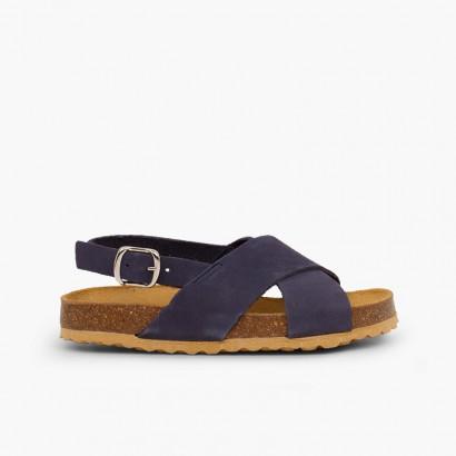 Sandales à brides croisées pour garçon en nobuck Bleu marine