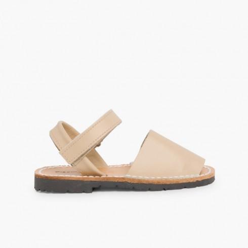 Sandales Avarcas cuir nappa et Velcro pour Enfant  Sable