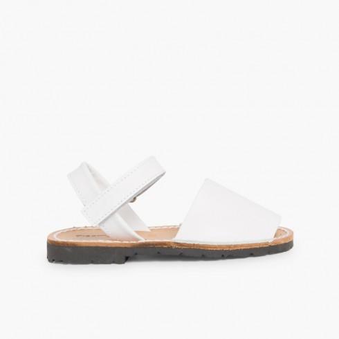 Sandales Avarcas cuir nappa et Velcro pour Enfant  Blanc