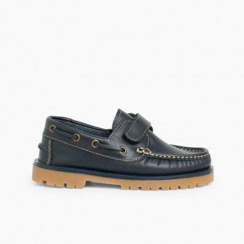 b92091979658 Chaussures bateau pour Garçon avec Scratch Bleu marine. (2 Couleurs)