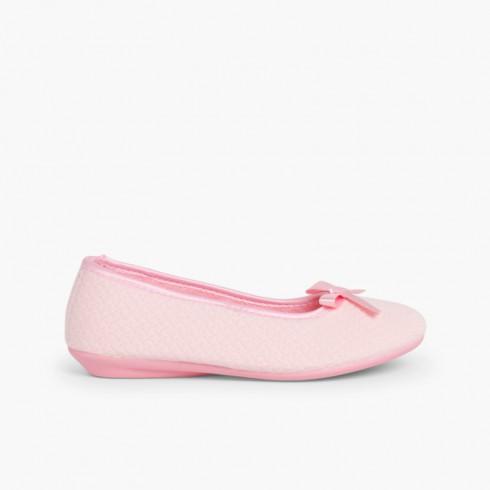 Pantoufles avec ruban style ballerine Rose