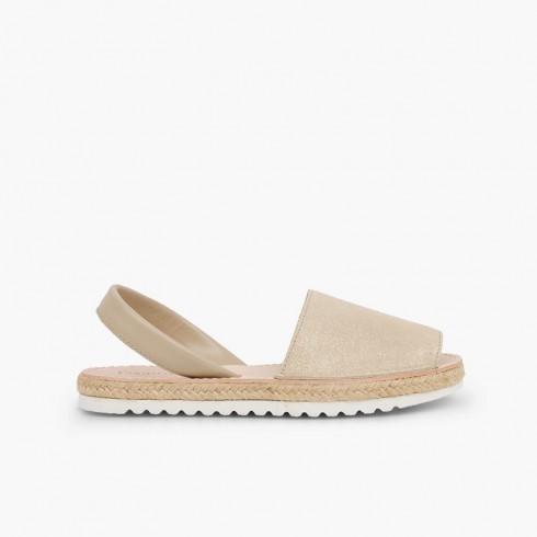 Sandales avarcas pour fille et femme suède brillant Beige