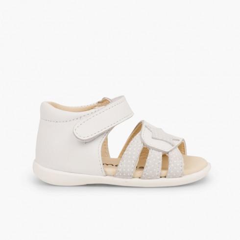 Sandales en cuir pour premiers pas pour fille en velcro et étoile Blanc
