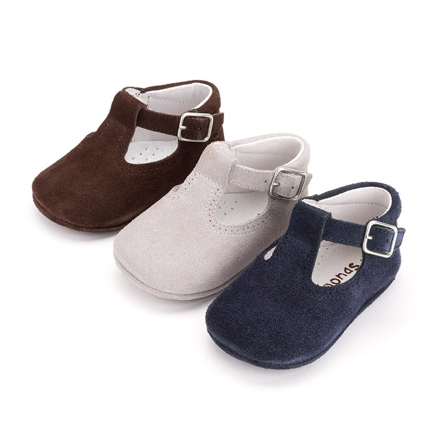 Chaussures Salomé en suède avec fermeture à boucle pour bébé