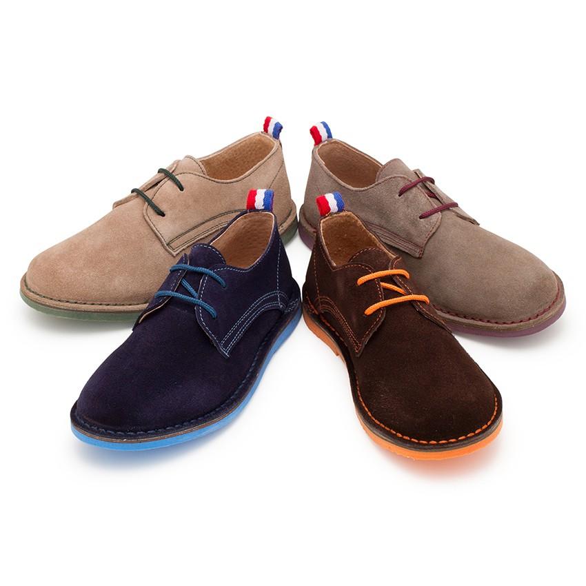 Chaussures Blucher garçon en cuir et lacets colorés