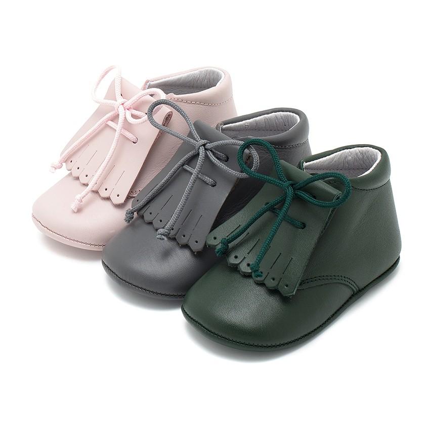 Chaussures en cuir pour bébé façon Bottillon avec franges