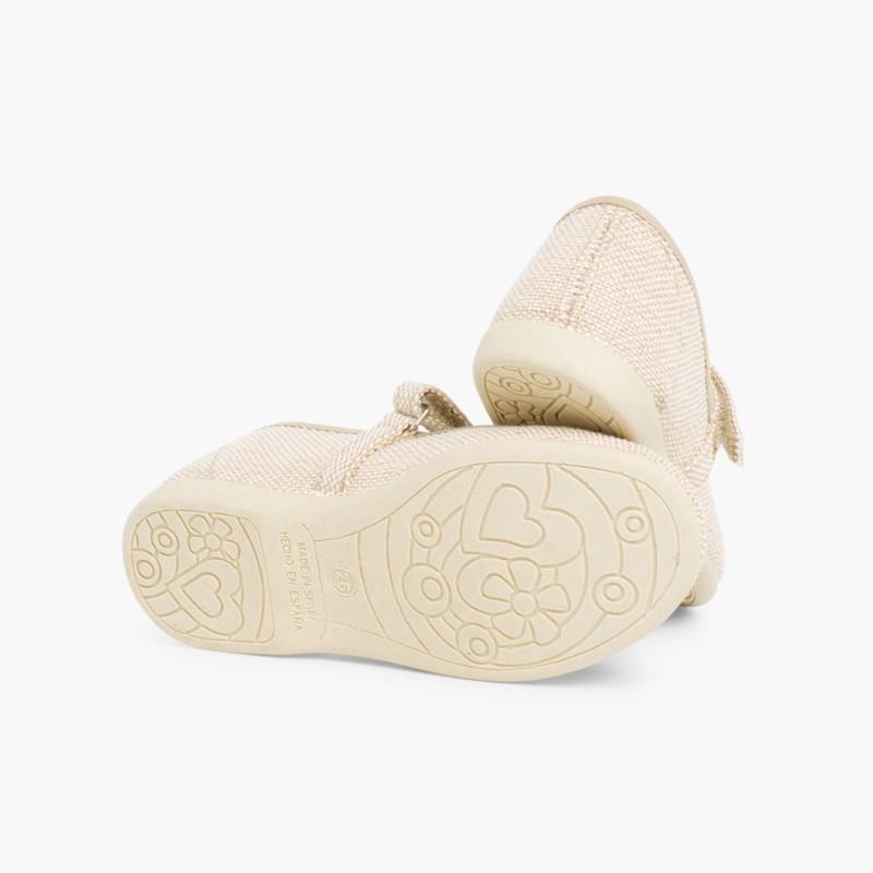 62367d98363a5 Chaussures babies en Lin avec velcro fin pour filles