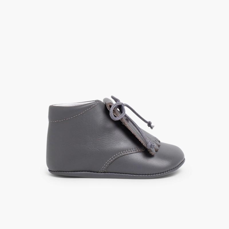 ... Chaussures en cuir pour b�b� fa� on Bottillon avec franges Gris  ... fc4bfc33c4cc