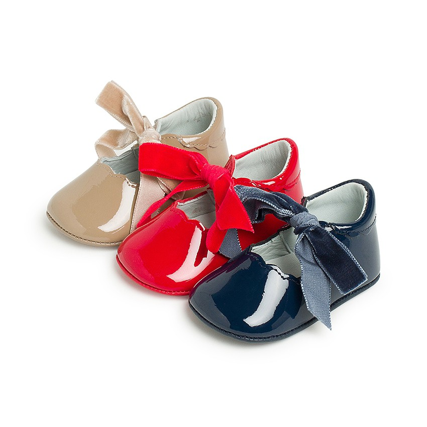 Chaussures Babies Vernis Nœud Velours