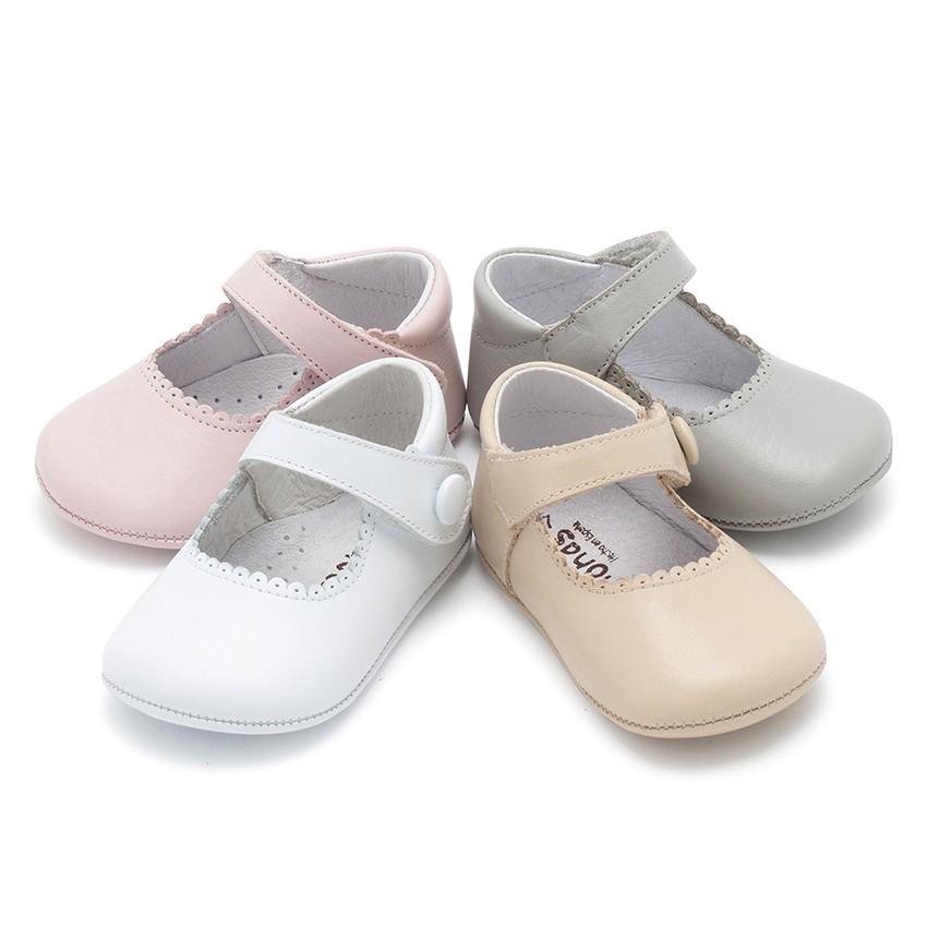 Chaussures babies en cuir avec fermetures à scratch pour bébés