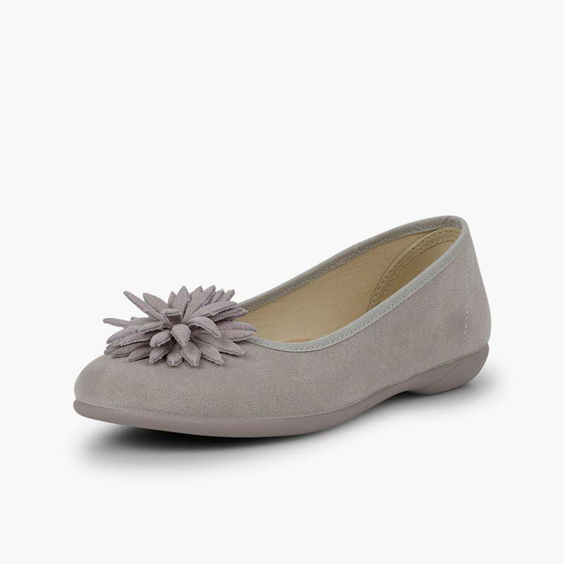 3d04e4b771e393 Ballerines avec fleur   Chaussures élégantes pour fille et femme