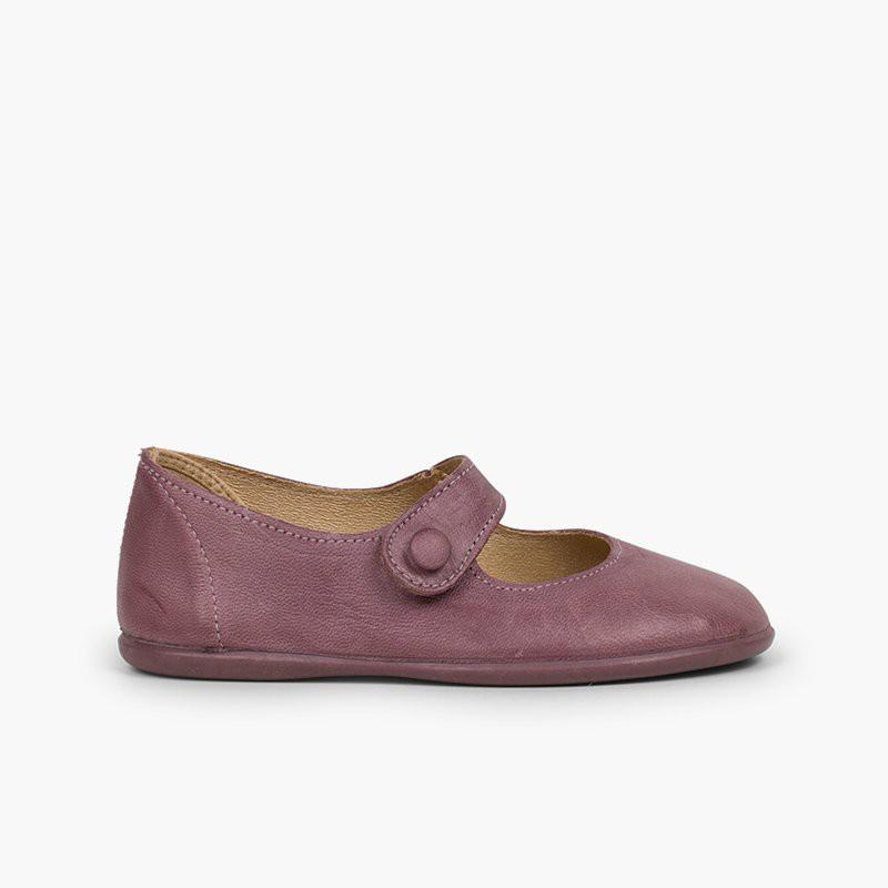 Chaussures babies fille cuir à scratch bouton